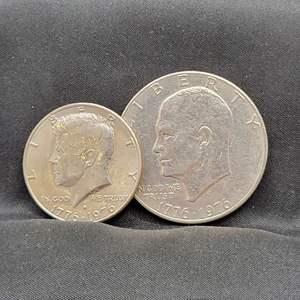 Lot 9 - 1776-1976 UNC Set of Kennedy (D) and Eisenhower Bicentennial Coins