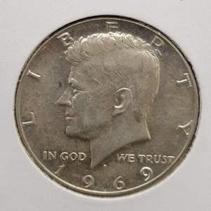 Lot 20 - 1969-D UNC SILVER Kennedy Half-Dollar