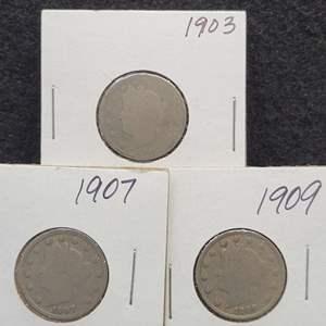 "Lot 38 - 1903, 01907, 1909 set of three Liberty Head ""V"" Nickels"