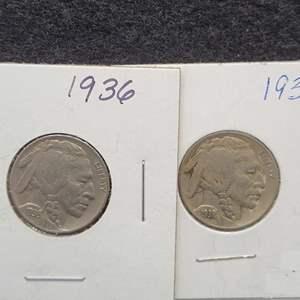 Lot 44 - 1936, 1938-D  Buffalo Nickels