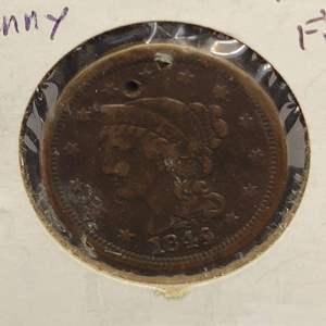 Lot 49 - 1844 US Large Cent, holed