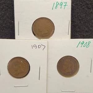 Lot 50 - Three Indian Head Cents, 1897, 1907, 1908