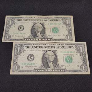 Lot 63 - Two 1963-B JOSEPH W. BARR One dollar federal reserve notes, green seal  Barr only served 28 days. RARE NOTES