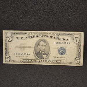 Lot 65 - 1953-A Five Dollar Silver Certificate United States Currency Note, Blue Seal