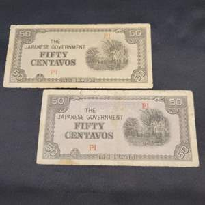 Lot 73 - 2 Fifty Centavos Notes, Japanese Invasion Currency, WWII