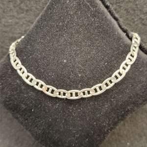 """Lot 92 - Vintage 8"""" Mariner Link Sterling Silver Bracelet, 5mm wide, stamped 925"""