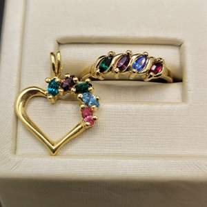Lot 93 - Salesman's Sample Heart Pendant and Ring, size 6.5