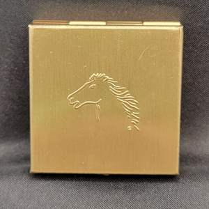 """Lot 100 - Vintage Box Engraved with Horse 1.5"""" x 1.5"""" x .5"""""""
