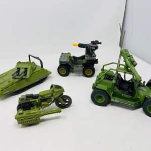 Lot #4 -  G.I. Joe Vintage 1985 Armadillo Action Figure Vehicle Tank, AWE Striker, Ram Motorcycle, and ATV
