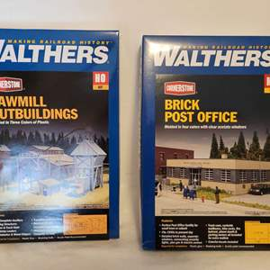 Lot #29 - Walthers Cornerstone  Sawmill Outbuildings Railroad Model Kit HO Scale and Brick Post Office HO Scale