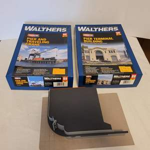 Lot #37 -  Walthers Pier and Traveling Crane, Building Pier Terminal (Both in Box) & a Partially Completed Bus Terminal HO Scale
