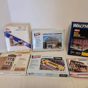 Lot #40 -  Six Model Kits including Model Power Annie's Antiques, Walthers Row House & Crane, Life Like General Store & More