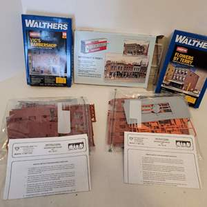 Lot #43 -  Group of Five Model Kits Including Vic's Barbershop, Flowers by Terry, Merchant's Row I and Two Browstone House Kits