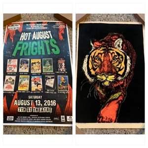 Lot #57 - Hot August Frights 2016 Poster 7th Street Theatre Grays Harbor  & Velva Print Vintage Blacklight 1970's Tiger Poster