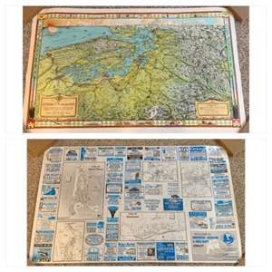 Lot #58 -  The Evergreen Playground Map of The Puget Sound by Kroll Map Co. & Map of Grays Harbor County