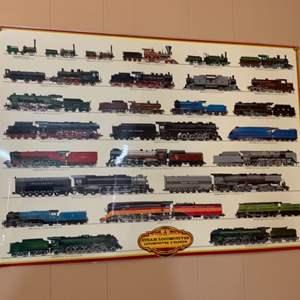 Lot #60 -  Train Steam Locomotives Poster Locomotives A Vapuer