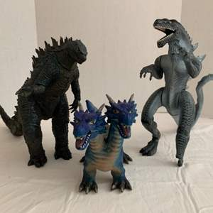 Lot #61 -  Godzilla Planet of the Monsters Action Figures and Toys R Us Maidenhead Two Headed Dragon
