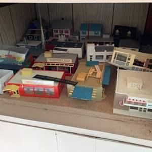 Lot #67 -  Vintage Train Modeling Sets Including Plasticville USA TV Transmitting Station WPLA O-s Scale, Several Homes & More
