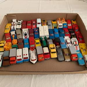 Lot #70 - Group of 56 Die Cast Vehicles Including 1978 Tomica Toyota Forklift, Tomy Chevy Camaro, 1976 Winnebago Motorhome