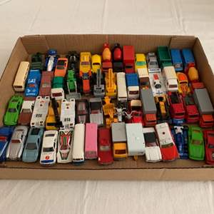 Lot #71 -  Large Group of Vintage Die Cast Vehicles Including 1977 Tomica Volkswagon, 1974 Tomica Camping Car, and More