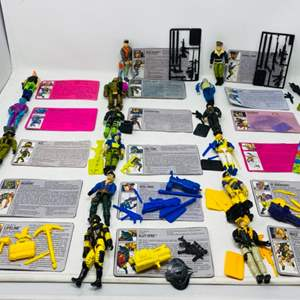 Lot #76 -  17 Vintage G.I. Joe Action Figures with Command Cards Including Cross Country, General Hawk, Ace, Muskrat and More