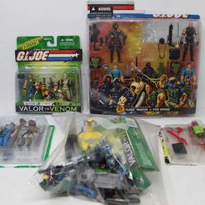 Lot #78 -  Hasbro G.I. Joe Group of Action Figures - Valor Vs Venom, Plague Troopers Vs Steel Brigade, B.A.T. Leader and More