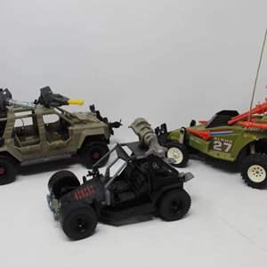 Lot #83 - Vintage 1987 Hasbro G.I. Joe Crossfire, '85 Ninja Commando 4x4 and 2010 Cobra V.A.M.P. Jeep