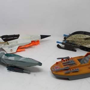 Lot #85 - Hasbro G.I. Joe Vintage ARAH Starfighter, ROC Desert Rockslide, '08 Cobra Polar Sub, 1986 Devil Fish Speed Boat