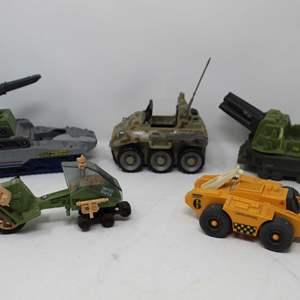 Lot #87 -   G.I. Joe 1986 LCV Recon Sled, 2002 G.I. Joe Battle Blitz, 1987 Hasbro Slam Tank Vehicle, 1988 Battle Force 2000