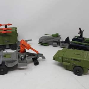 Lot #90 - Vintage G.I. Joe: '87 BF Marauder Cycle, Battle Force 2000, '87 Road Toad BRV and '85 USS Flagg Fuel Trailer