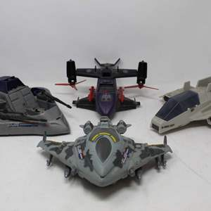 Lot #95 - Vintage G.J. Joe Mini 487 Warship, '84 Cobra Sky S.H.A.R.C., '89 Cobra Fang II Heli and Battleforce 2000 Vindicator