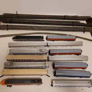 Lot #103 -  Misc. Model Railroad Tracks and Car Including Bachmann TGV, Amtrak, 14 Cars Plus Track Pieces