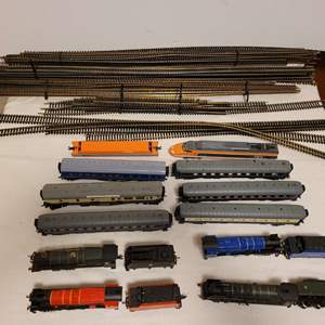 Lot #105 -  Railroad Model Trains, Joeuf Coal Locomotive 2331, Bachmann Coal Locomotive, Lifelike Trains, and Misc. Track Pieces
