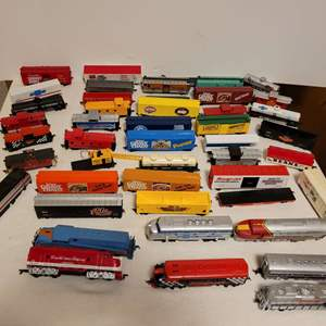 Lot #107 -  Railroad Model Cars, Flat Beds, Engines, Tyco, Model Power, Bachmann, Campbells, Snap-On Box Car, Chevrolet Trailer