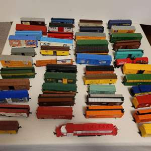 Lot #111 -  HO Model Railroad Cars, Mehano Shop and Save SD 40 Diesel, Scott Tissue Box Car, Union Pacific Box Car and More