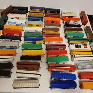 Lot #112 -  Group of 58 Railroad Model Box Cars including, Wonka, Bazooka, Nabisco, Wrigley's, and More