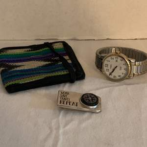 Lot #119 -  Timex Indiglo WR30M Watch, Cotton Made in Guatemala Wallet, and Compass Travel Money Clip