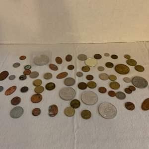 Lot #121 -  Vintage Token and Coin Collection Including Chuck E. Cheese Tokens, The 1962 Worlds Fair Token, A 2 New France Coin