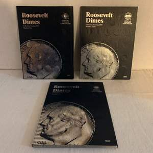 Lot #127 -  Roosevelt Dimes Coin Collection Books, Three Books Starting in Year 1946 and Ending in Year 2005