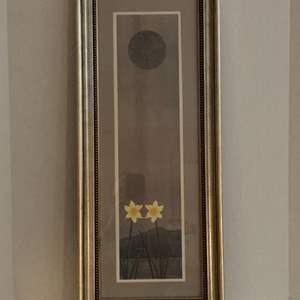 Lot #133 -  Framed Nicholas Kirsten Honshin Fine Art Original Painting Daffodils Under Moonlight
