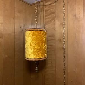 Lot #136 -  Vintage MCM Gold Colored Crushed Velvet Hanging Chandelier with Tassel