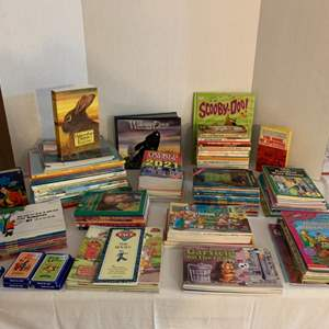 Lot #140 -  Large Group of Children's Books and Card Games Including Several Garfield Books and Books by Mercer Mayer & Disney