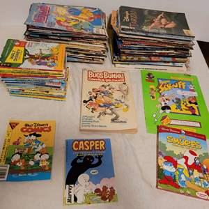 Lot #147 - Large Selection of Books & Magazines, Walt Disney, Casper, Bugs Bunny Comic Book, The Smurfs, Aladdin, Goofy