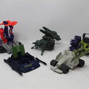 Lot #164 - 1982 G.I. Joe MMS with Hawk Missiles, 1988 Swampmasher, 1989 Tri Blaster, 1987 Vindicator & 1993 Ninja Force Raider