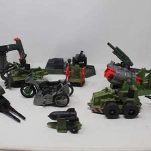 Lot #168 - Vintage 1980's G.I. Joe Vehicles: Weapons Transport, Missle Launch, Machine Gun PAC RAT, ARAH Weapons and More