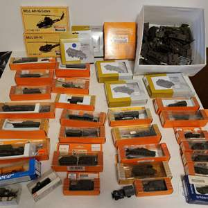 Lot #175 - Huge Selection of Roco HO Mini Tanks Packaged, Helicopters and Loose Army Tanks