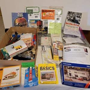 Lot #177 - HO Pola, Backmann, Atlas and Cornerstone Structure Kits, Packaged Decals and Other Plastic Structure Parts