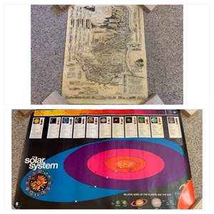 Lot #192 -  Poster Map of Westport Washington & Poster of the Solar System