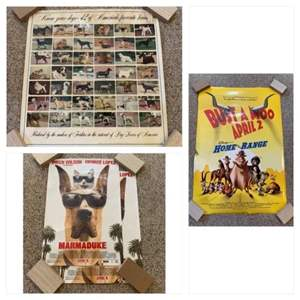 Lot #194 -  Set of 3 Posters; Know Your Dogs - 42 of America's Favorite Breeds, Disney's Bust a Moo Movie Poster, & Marmaduke