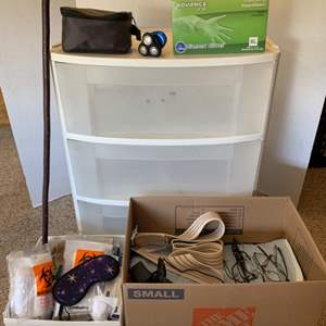 Lot #199 - Sterlite Three Drawer Storage and Medical Supplies. Cane, Gloves, Lazle BP Monitor, Compression Stockings and More